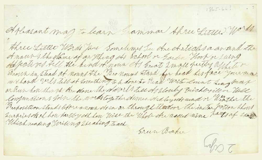 Manuscrito de The Nine Parts of Speech, redactado por Green Baker alrededor de 1865 / American Antiquarian Society